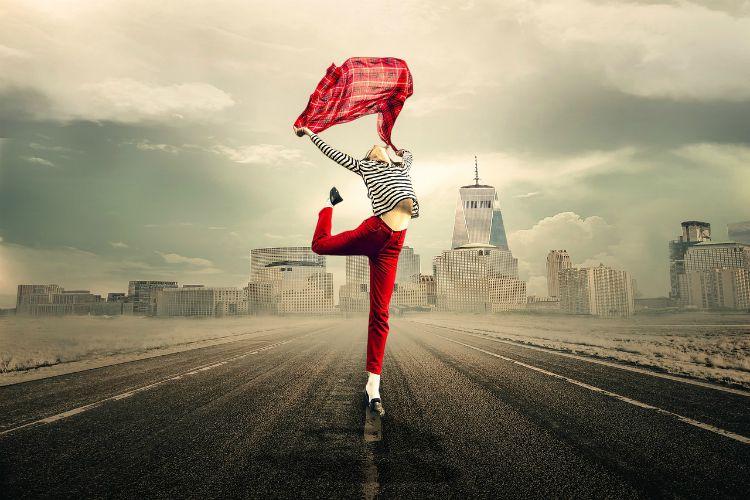 girl dancing red