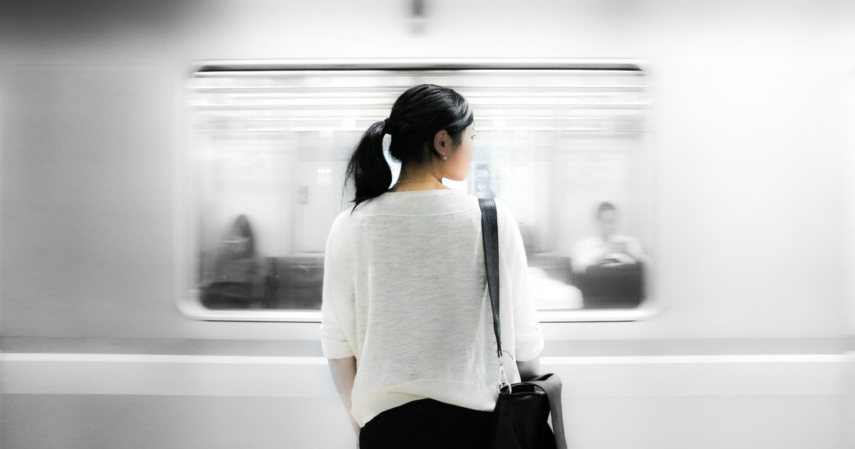 woman waiting for train