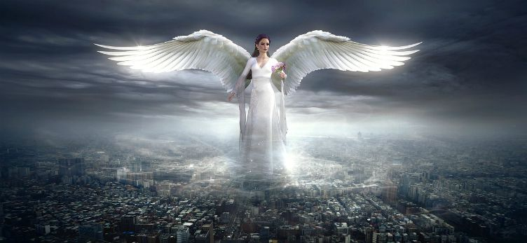 angel overseeing world city