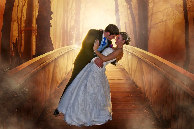 fairy tale wedding couple